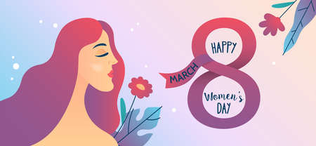 Women's day banner design with young woman and flowers. March 8 flyer template. Vector illustration Banque d'images - 137456628