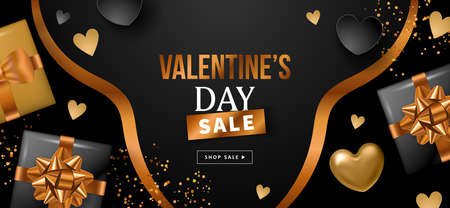 Valentines day sale banner design with black and gold heart shapes and gift boxes. Template for flyer, poster, invitation, social media advertising. Vector illustration