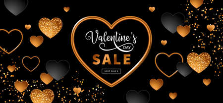 Valentines day sale banner design with black and gold heart shapes and gift boxes. Template for flyer, poster, invitation, social media advertising. Vector illustration Banque d'images - 138061039