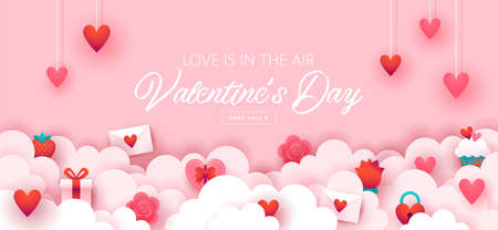 Valentines day holiday banner design with paper cut elements  background. Vector illustration Banque d'images - 138060981