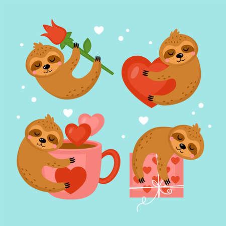 Cute sloth character set for Valentines day holiday. Vector illustration Ilustração