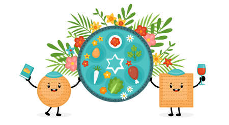 Passover holiday banner design with matzah funny cartoon characters and traditional seder plate. Vector illustration