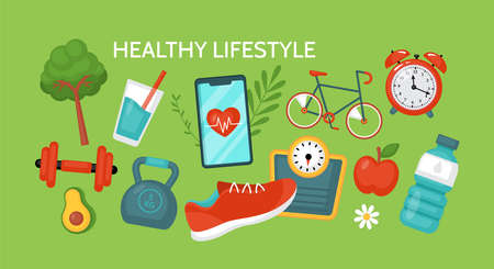 Healthy lifestyle concept. Fitness and diet banner design with food and sport equipment. Vector illustration
