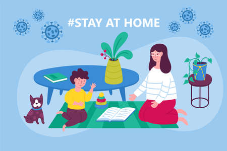 Coronavirus quarantine concept. Stay at home concept. Woman and child playing and reading.  Flat cartoon vector illustration