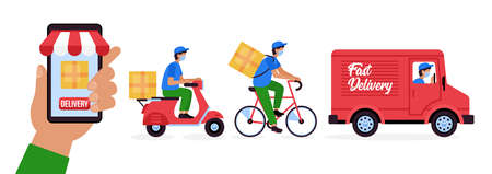 Online delivery sevice concept with courier in face mask on bicycle, motorcycle and truck. Vector illustration Ilustración de vector