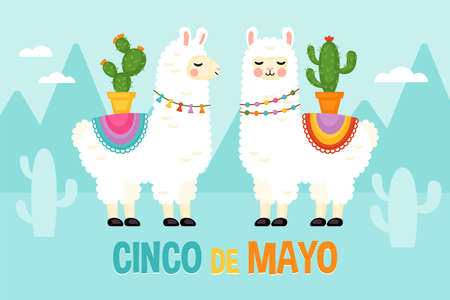Cinco de Mayo Mexican Holiday greeting card design with cute llama animal character. Vector illustration
