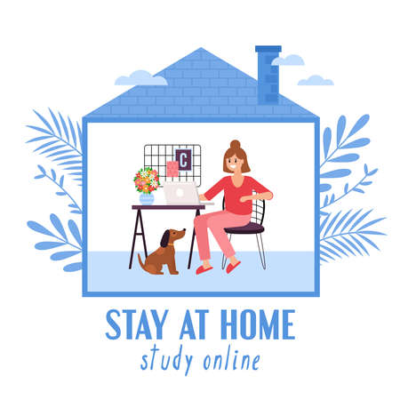 Stay at home and quarantine concept. Woman study online on laptop computer. Vector illustration 일러스트