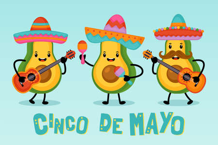 Cinco de Mayo Mexican Holiday greeting card design cute funny avocado characters. Vector illustration