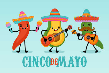 Cinco de Mayo Mexican Holiday greeting card design cute funny avocado and hot pepper characters. Vector illustration