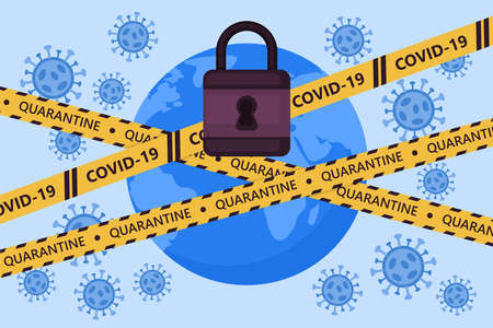 Global lockdown concept. Coronavirus COVID-19 pandemic quarantine concept. World globe with warning tape. Vector illustration
