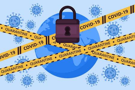 Global lockdown concept. Coronavirus COVID-19 pandemic quarantine concept. World globe with warning tape. Vector illustration