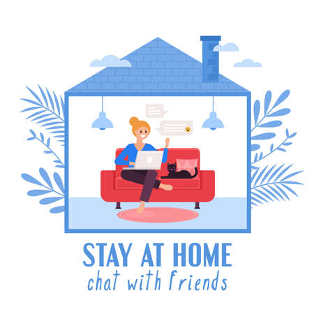 Stay at home and quarantine concept. Woman chatting online with friends on laptop computer. Vector illustration Illustration