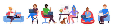 Working from home concept. Set of people working on laptop computer. Quarantine concept. Vector illustration Illustration