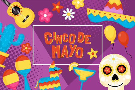 Cinco de Mayo Mexican Holiday banner, poster and greeting card design. Vector illustration Illustration