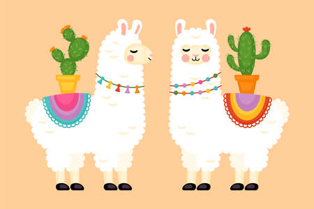 Cute llama animal character design. Vector illustration 일러스트