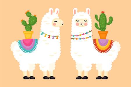 Cute llama animal character design. Vector illustration Illustration