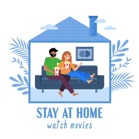 Stay at home and quarantine concept. Man and woman watching movies at home. Vector illustration Illustration