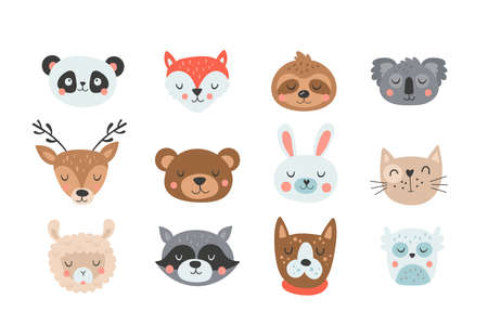 Cute animals head set. Childish print for cards, stickers, apparel and nursery decoration. Vector Illustration