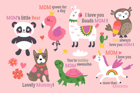 Mother's day cute animals set with llama, unicorn, panda bear, flamingo, dog, turtle and owl. Childish print for cards, stickers, apparel and nursery decoration 일러스트
