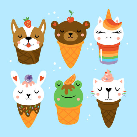 Ice cream with cute animals for summer. Childish print for cards, stickers and party invitations. Vector Illustration 일러스트