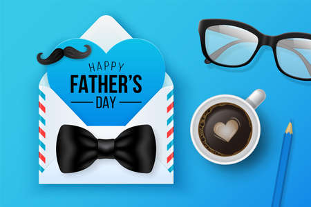 Happy Fathers day greeting card design with envelope, heart shape and eyeglasses. Falt lay style. Vector illustration