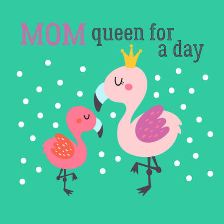 Mother's day greeting card design with cute flamingo. Childish print for cards, stickers, apparel and nursery decoration