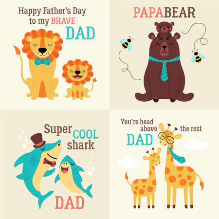 Father's day greeting card set with cute animals. Childish print for cards, stickers, apparel and nursery decoration