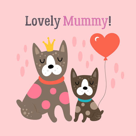 Mother's day greeting card design with cute dogs. Childish print for cards, stickers, apparel and nursery decoration