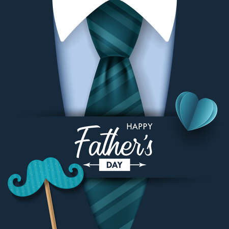 Fathers day banner design with lettering and tie. Vector illustration 일러스트