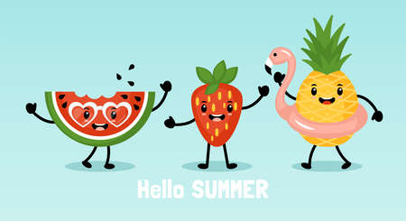 Summer banner design with cute funny pineapple, watermelon and strawberry characters. Flat style cartoon vector illustration Illustration
