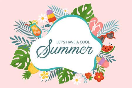 Summer background template for social media, banner or poster design. Flat style cartoon illustration