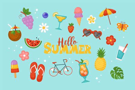 Summer background for social media, banner or poster design. Flat style cartoon illustration