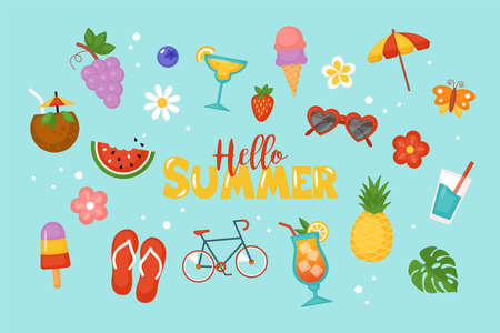 Summer background for social media, banner or poster design. Flat style cartoon illustration