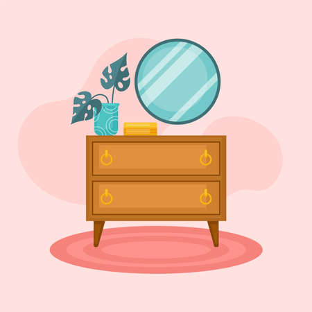 Cozy interior with dresser, mirror and home plant. Flat cartoon style vector illustration