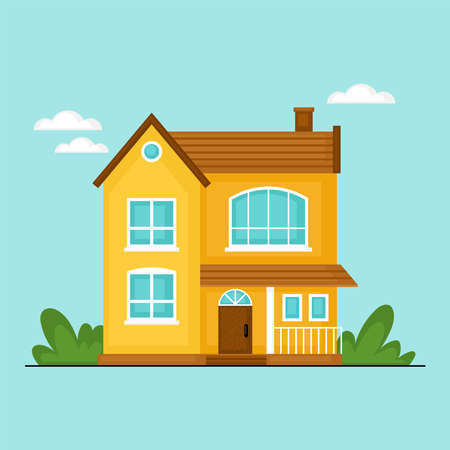 Cute private house design for real estate concept. Flat style cartoon vector illustration