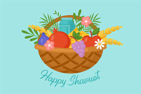 Jewish holiday shavuot greeting card with fruit basket, wheat and milk. Vector illustration