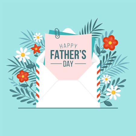 Happy Fathers day greeting card design with envelope and flowers. Vector illustration 일러스트