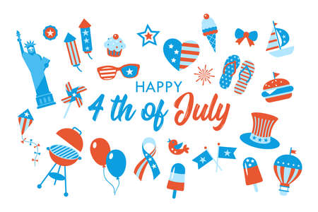4th of July, Independence Day of the United States, greeting card design. Flat style cartoon vector illustration