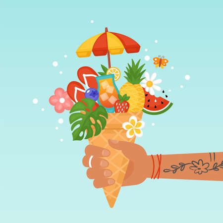 Summer creative concept with hand holding ice cream waffle cone and summer elements. Flat style cartoon vector illustration Illustration