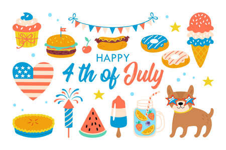 4th of july USA Independence day cute elements set. Childish print for cards, stickers and party invitations. Vector illustration
