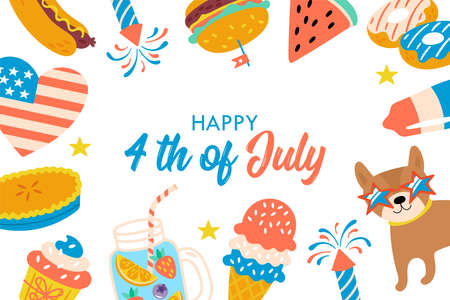 4th of july USA Independence day cute greeting card design. Childish print for cards and party invitations. Vector illustration