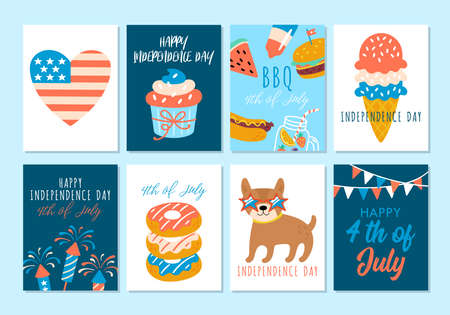 4th of july USA Independence day cute greeting card set. Childish print for cards and party invitations. Vector illustration 일러스트