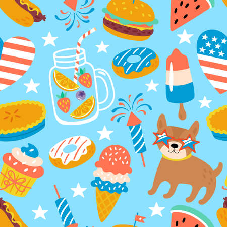 4th of july USA Independence day cute seamless pattern design. Childish print for cards, backgrounds and party invitations. Vector illustration 일러스트