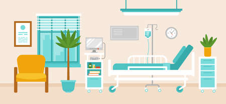 Hospital room interior with hospital bed, medical equipment, monitor and furniture. Vector Illustratie