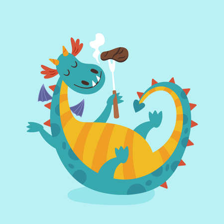 Cute dragon character design. Childish print for cards, stickers, apparel and nursery decoration