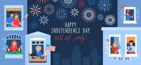 4th of July, Independence Day of the United States, greeting card design. People celebrating at home. Flat style cartoon vector illustration 일러스트