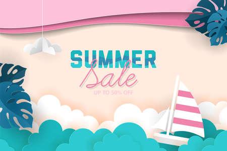 Summer sale banner design with paper cut elements background. Vector illustration Illustration