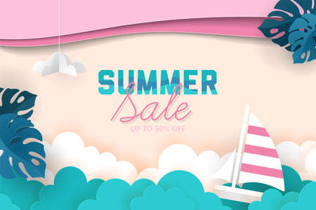 Summer sale banner design with paper cut elements background. Vector illustration 일러스트
