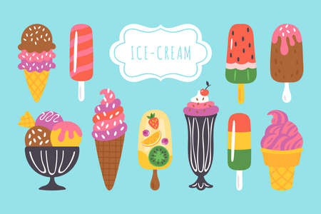 Ice cream  set for summer design. Childish print for cards, stickers and party invitations. Vector Illustration