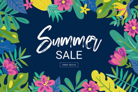 Tropical summer cute sale background with monstera leaf, flowers and palm leaves. Template for social media banner, poster or newsletter design